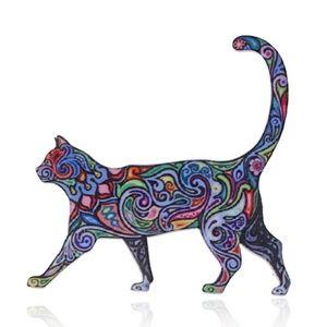 Bohemian Colorful Walking Cat Pin Brooch-Brand New